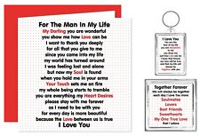Man In My Life Verse Gift - Card Keyring Magnet - I Love You - Birthday Present