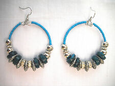 NEW FUN BLUE COCONUT WOOD & ANTIQUE ALLOY & SEED BEADED HOOP DANGLING EARRINGS