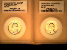 2 Ea PC 1964 and 1962 Silver Washington Proof 69 Quarters