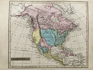 1839 Antique Scarce Map; North America after John Russell