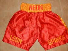 """LEON SPINKS AUTOGRAPHED BOXING TRUNKS W/PROOF """"LOOK"""""""