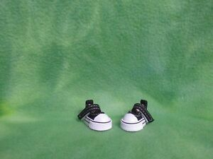 "1-3/8"" BLACK WHITE LOW TOP CANVAS DOLL SNEAKERS 4 BLYTHE BJD COLLECTIBLES SHOES"