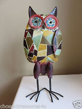 "20""  METAL OWL STANDING GARDEN  yard figurine MULTI COLORED MODERN HOOTER BIRD"