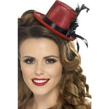 Womens Ladies Teens Red Burlesque Mini Glitter Top Hat Feather Fancy Dress
