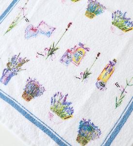 2x Handtücher Lavendel Kracht Frottee KücheTücher Gäste Blumen Korb Lila Kräuter