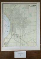 "Vintage 1900 ST JOSEPH MISSOURI Map 11""x14"" Old Antique AGENCY ELLWOOD"