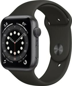 Apple Watch series 6 Space Gray Aluminum Case Black Sport Band 44mm Pre-owned