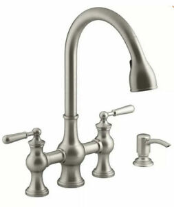 Kohler Capilano R21070-SD-VS 2-Handle Pull-Down Kitchen Faucet Stainless NEW
