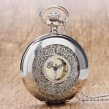 Hollow Silver Tone White Dial Women Men Pocket Watch Necklace Pendant Chain Gift