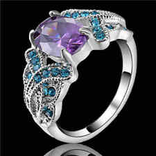 Pretty Amethyst&Aquamarine Wedding Ring 10KT White Gold Filled Jewelry Size 9