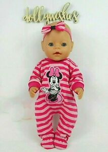 """Dolls clothes for 17"""" BABY BORN DOLL~MINNIE MOUSE PINK STRIPE JUMPSUIT~ HAIR BOW"""