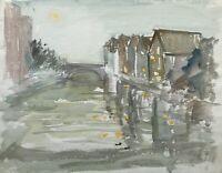 Acquerello Impressionista Case Am Fiume in Luce Lunare Ponte Atmosfera Serale