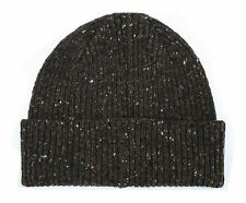 Extra Thick Donegal Wool Ribbed Knit Beanie Hat - Brown -  Made in Scotland