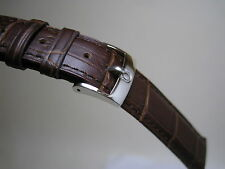OMEGA 19MM BROWN LEATHER BAND STAINLESS STEEL SMALL LOGO BUCKLE