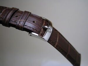 19MM BROWN LEATHER STRAP BAND STAINLESS STEEL SMALL LOGO BUCKLE FOR OMEGA WATCH