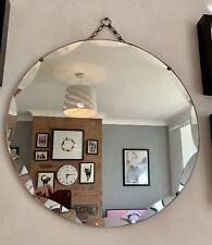 More details for antique vintage art deco round bevelled frameless chain mirror 50cm  diameter