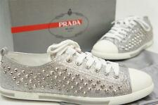 PRADA GLITTER STUDDED SILVER LOW PROFILE LEATHER SNEAKERS SHOES 40/10 $550