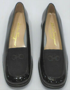 SALVATORE FERRAGAMO Patent Leather Low Wedge Loafers, Black, Size 6 1/2B, NIB