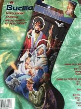 Bucilla Needlepoint Kit Christmas Stocking Away in a Manger Nativity #84417