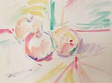 JOSE TRUJILLO - ORIGINAL Watercolor Painting MODERN Fauvist 9X12 Apples Soft