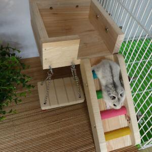 Wooden Cage Toys Hanging Ladder Swing Bridge Platform for Bird Rat Hamster
