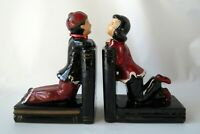 Vintage Asian Chinese Bookends Girl Boy Red Black Mid Century