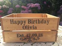 Personalised Vintage Style Birthday Wooden Crate box Keepsake  Ideal gift