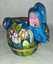 Vintage Chinese Cloisonne  Handpainted Rabbit Bunny Trinket Box