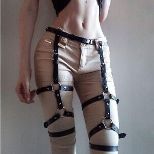 Women Leather Body Harness Waist Belt Garter Punk Gothic Suspenders Band Straps