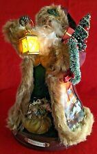 Thomas Kinkade Caroling Santa Music Box Bradford Exchange 2012 Lights Up Works