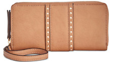 New I.N.C INC INTERNATIONAL CONCEPTS Zip Faux Honey Tan Leather Wallet Clutch