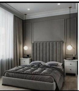 Luxury Bespoke Plush Velvet Panel design Bed Frame With High 54 Inch Headboard