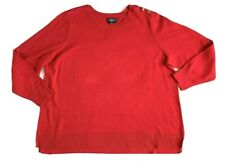 New Liz Claiborne Woman Sweater 3X Pullover Red Gold Buttons Nautical Cotton