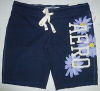 Womens AEROPOSTALE Floral Logo Fleece Bermuda Shorts Blue size XS NWT #7467