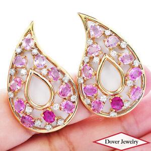 Estate Diamond 13.04ct Pink Sapphire 18K Gold Large Pear Earrings 24.1 Grams NR
