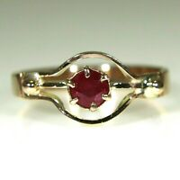 Edwardian Natural Ruby Solitaire 9ct Rose Gold Ring size L ~ 5 3/4