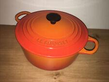 Volcanic Orange Le Creuset 22cm Cast Iron Casserole Dish, Stock Pot.