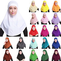 Womens Islamic Muslim Hijab Scarf Full Cover Cap Set Ninja Hat Headwear 2Pcs Set