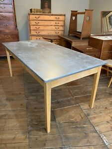 Vintage French Kitchen / Dining Table with Zinc Top