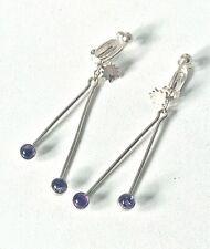 Vintage style Sterling Silver & Amethyst Drop Dangle Clip-On Earrings