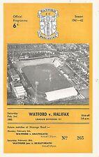 Watford v Halifax Town - Div 3 - 3/2/1962 - Football Programme