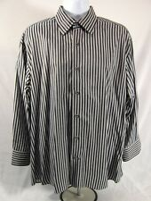 Luchiano Viconti Button Front Shirt Mens Size XL Black Gray Long Sleeve Striped