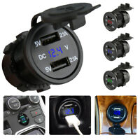 Dual USB Car Boat Cigarette Lighter Socket Charger Power Adapter Outlet 12V-24V.