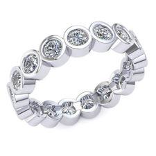 1.35Ct Round Bezel Diamond Eternity Wedding Bridal Band Ring 14k Gold H SI2
