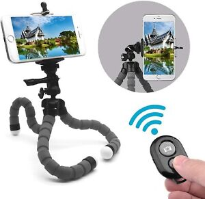 Flexible Phone Tripod with Camera Shutter Remote Control and Tripod, Grey1
