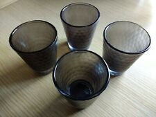 More details for m&s 4 x glass tealight candle holders, frosted, faceted, brown, vg
