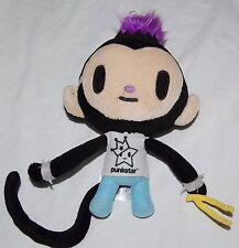 "Vintage Tokidoki Plush Monkey Punkstar Drummer 9"" Maxx Purple Mohawk Stuffed Toy"