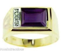 Mens Alexandrite & Diamond 14K White Gold Ring