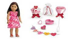 💕American Girl Valentine Bundle 4 Doll Friends are Sweet Set & Red Ruffle Dress