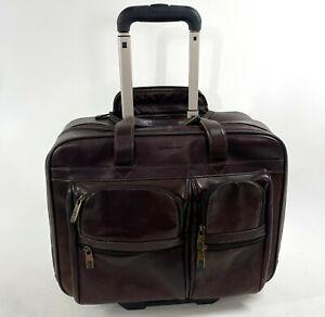 SAMSONITE 923661 Heritage Brown Leather Rolling Mobile Office Travel Bag Case